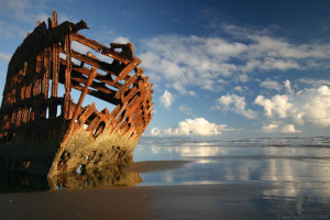 The rusting bones of the Peter Iredale.